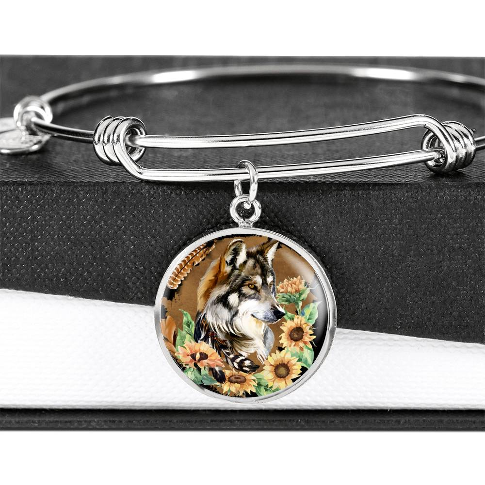 Wolf Floral Luxury Bangle