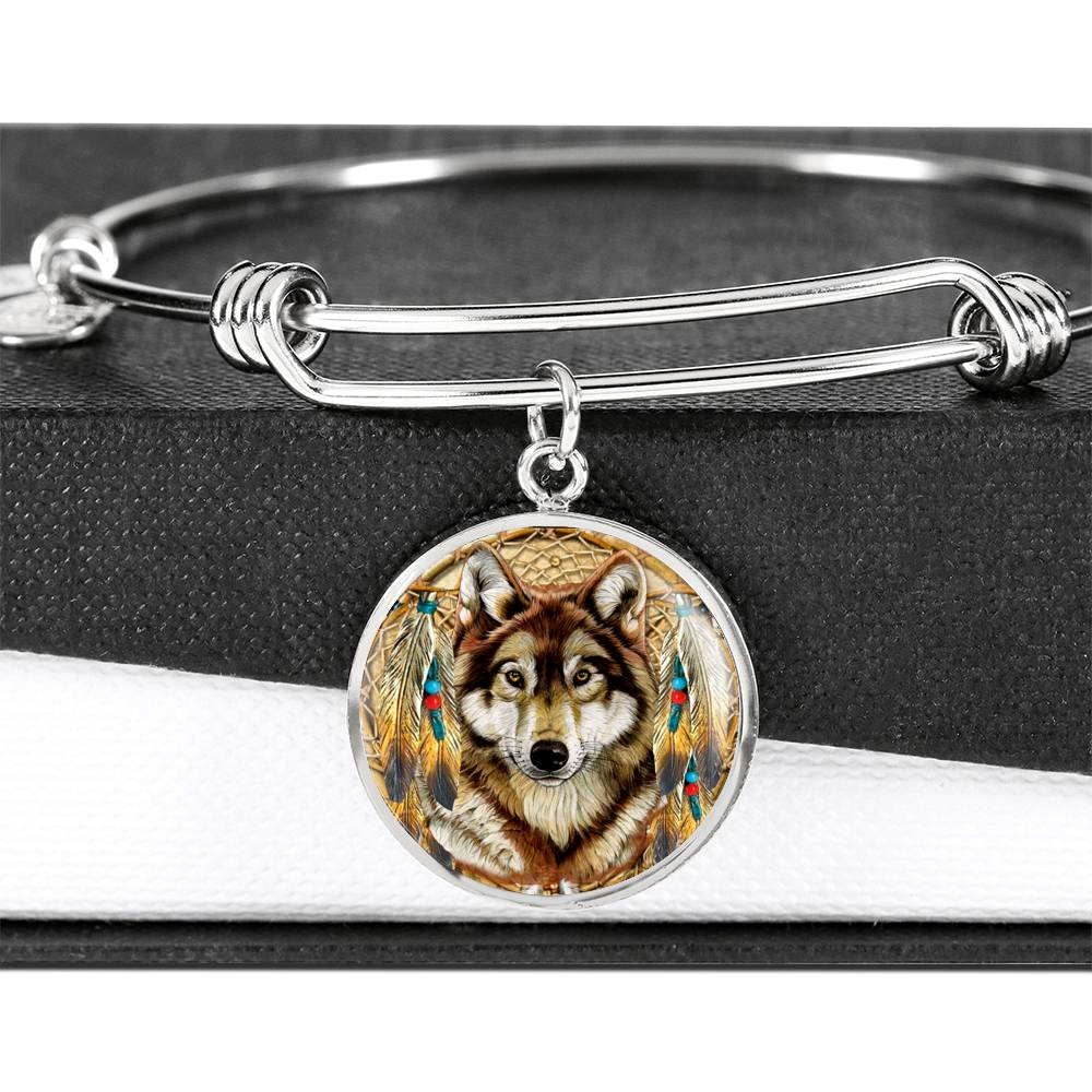 Lone Dreamcatcher Wolf Luxury Bangle