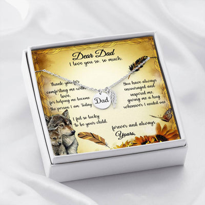 Gift To Dad Necklace With Customize Name Message Card