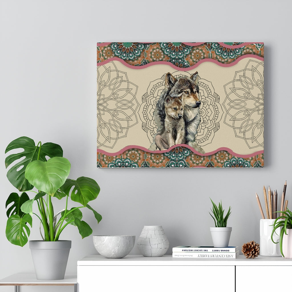 Wolf Mom's Love Canvas Gallery Wraps