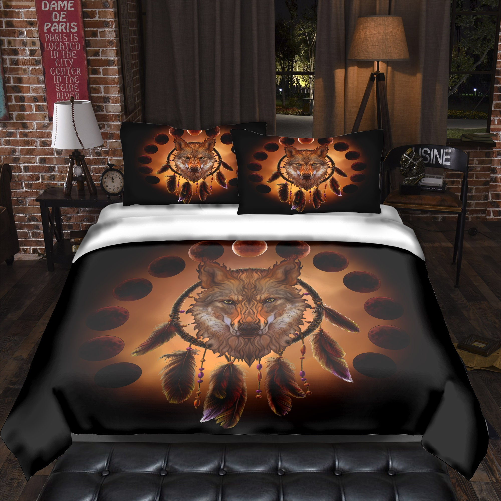 Blood Moon Wolf Bedding Set