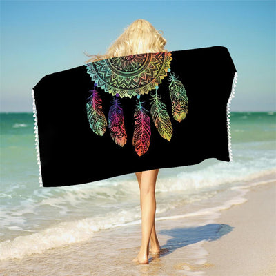 Half Rainbow Dreamcatcher Towel