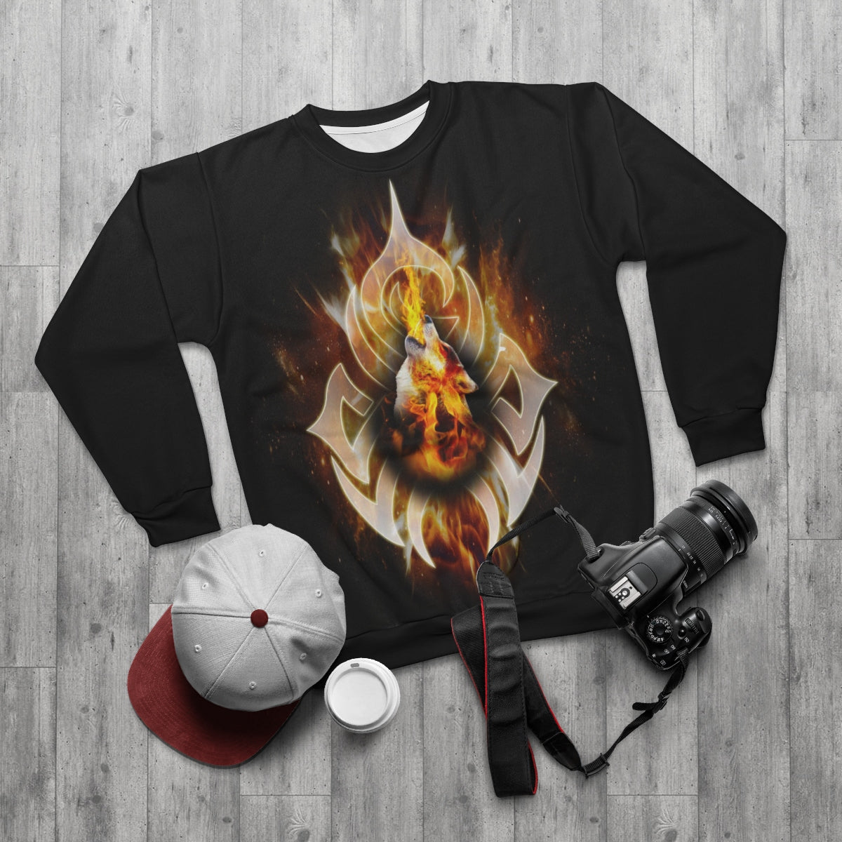 Tattoo Fire Wolf All Over Print Sweatshirt