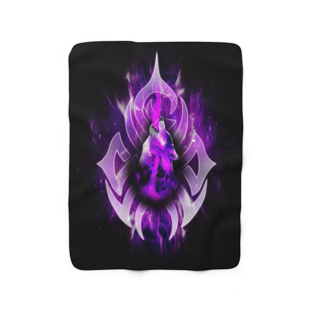Purple Fire Wolf Sherpa Fleece Blanket