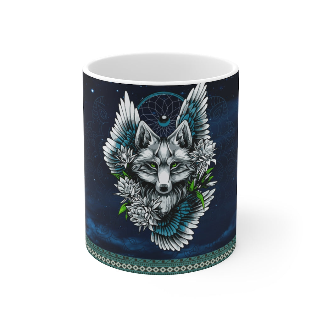 Wolf Dream Catcher  Mug 11oz