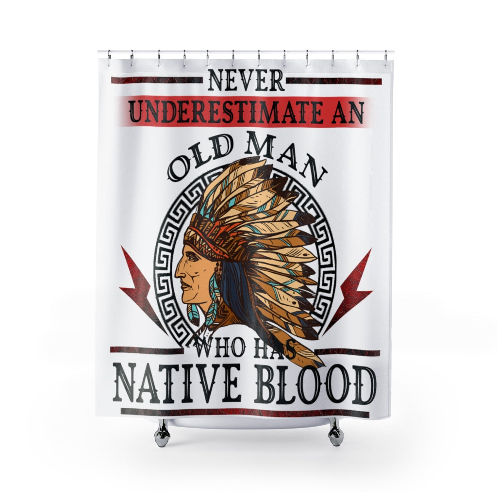 Old Man With Native Blood Shower Curtains
