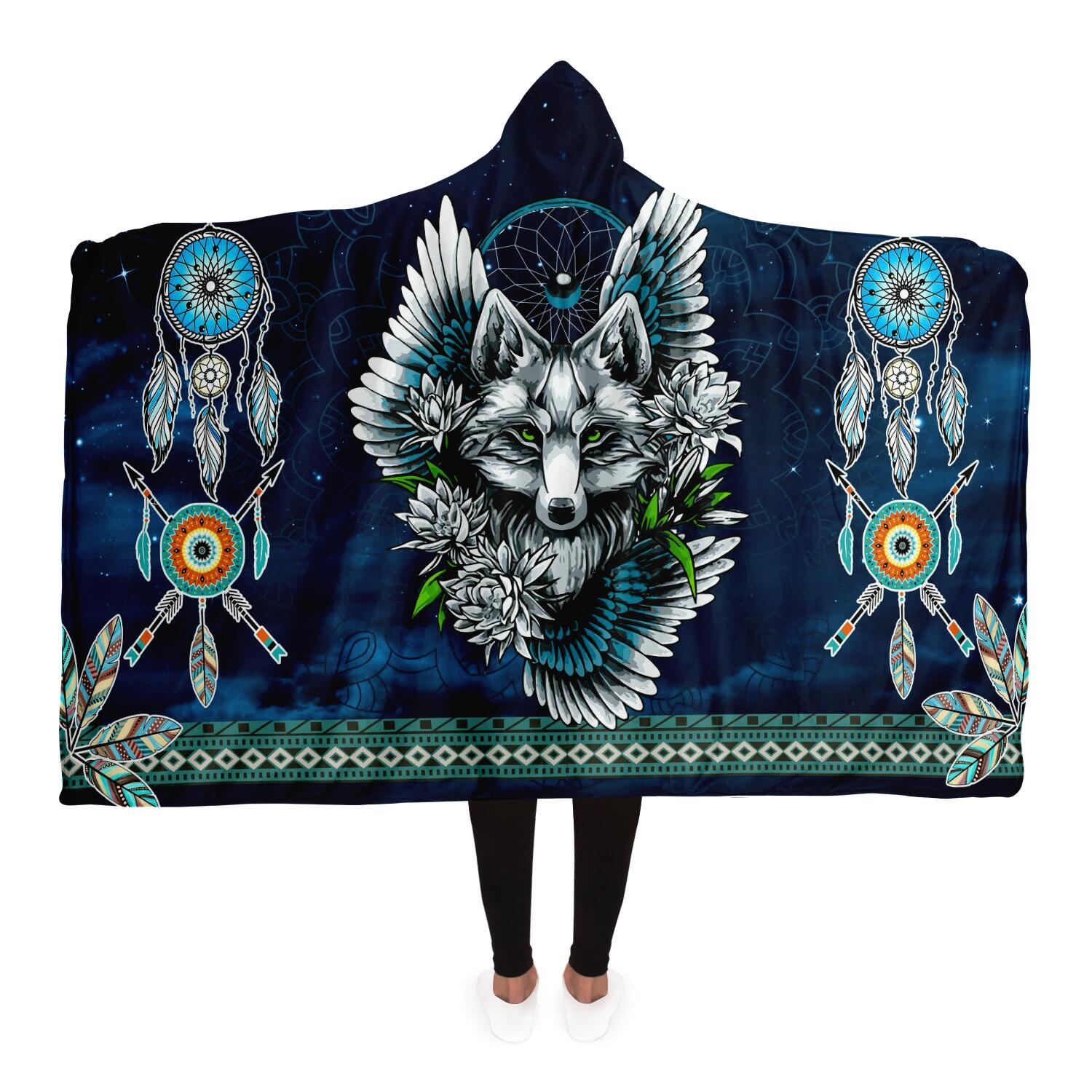 Wolf Dream Catcher Hoodie Blanket
