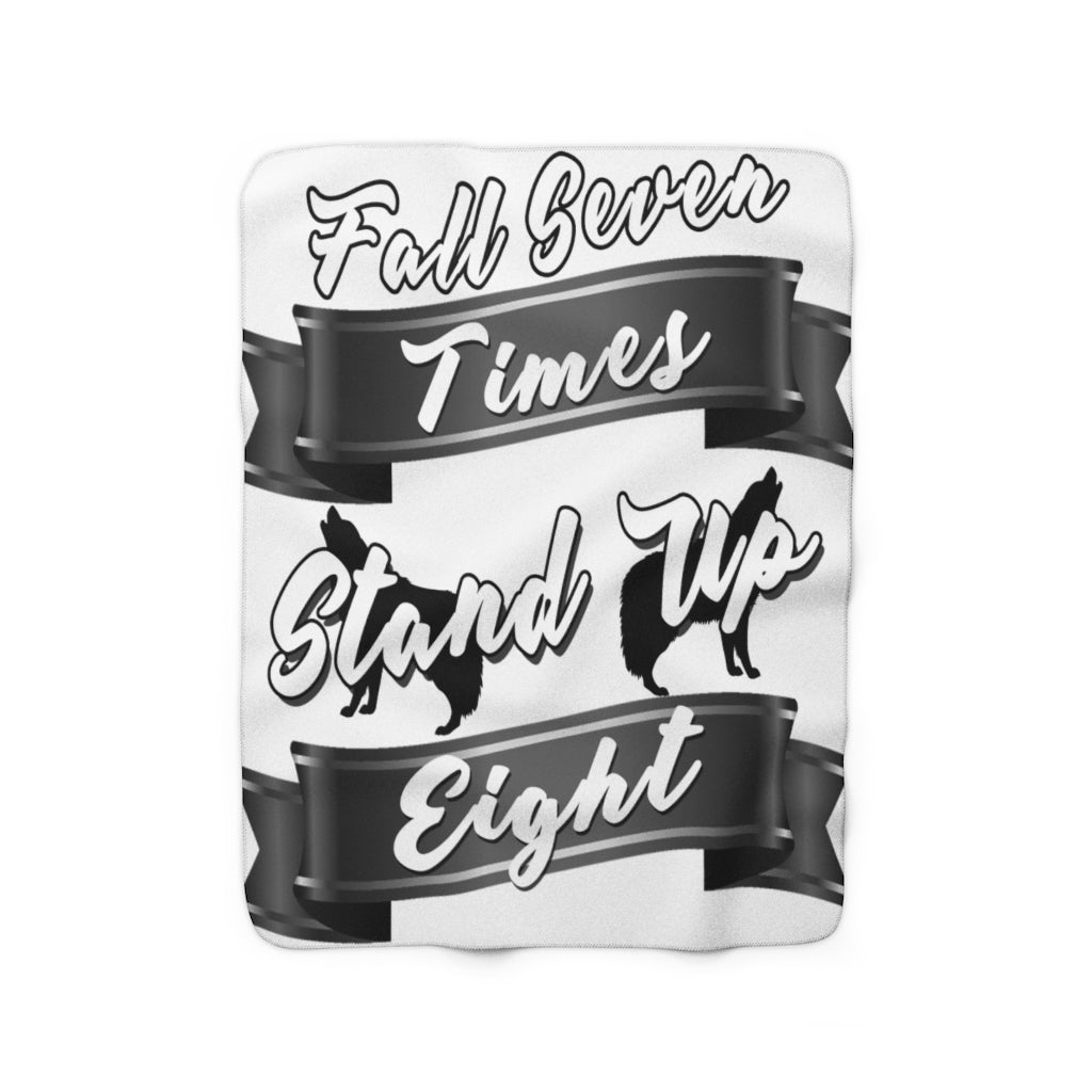 Fall Seven Times Stand Up Eight Sherpa Fleece Blanket