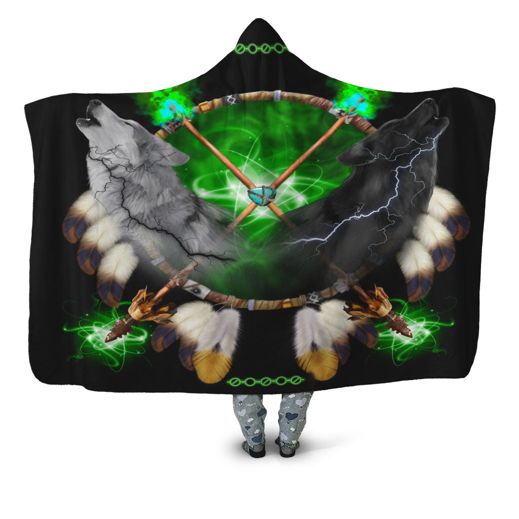 Day and Night Lightning Hooded Blanket