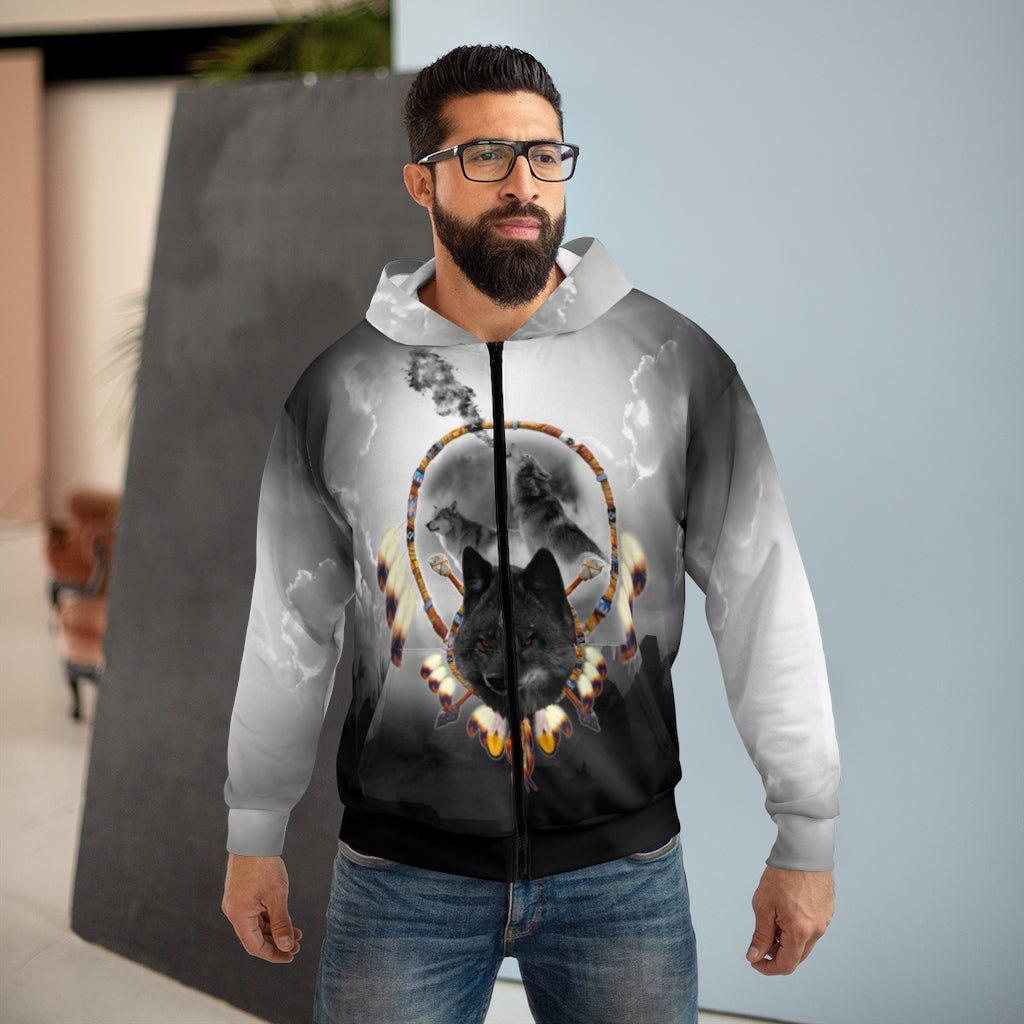 Alpha Wolf All Over Print Zip Hoodie