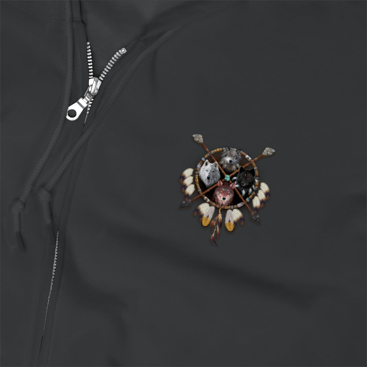 4 Wolves Embroidery- Unisex Zip Up Hoodie