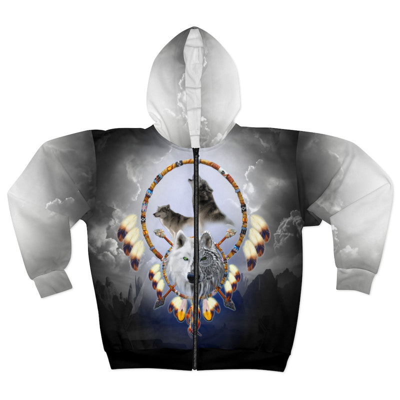 Omega Wolf All Over Print Zip Hoodie