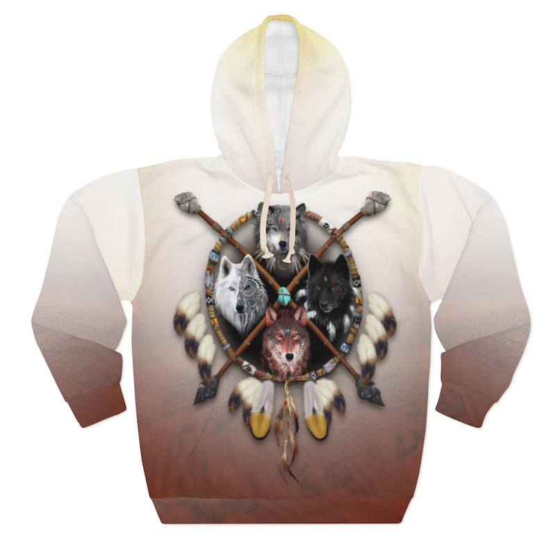 4 Wolves Warrior Light All Over Print Pullover Hoodie