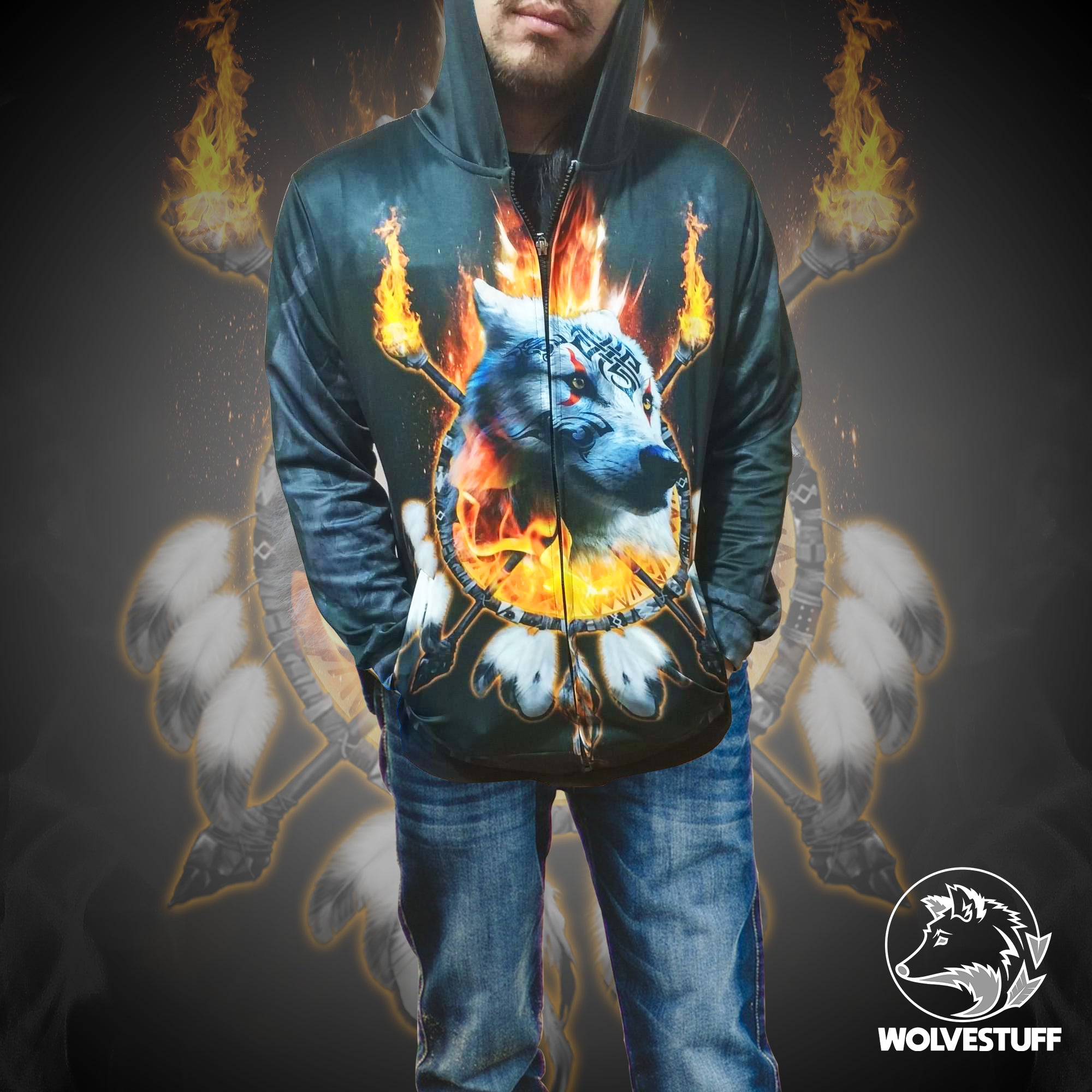 Fire Wolf Chief Zip Up Hoodie