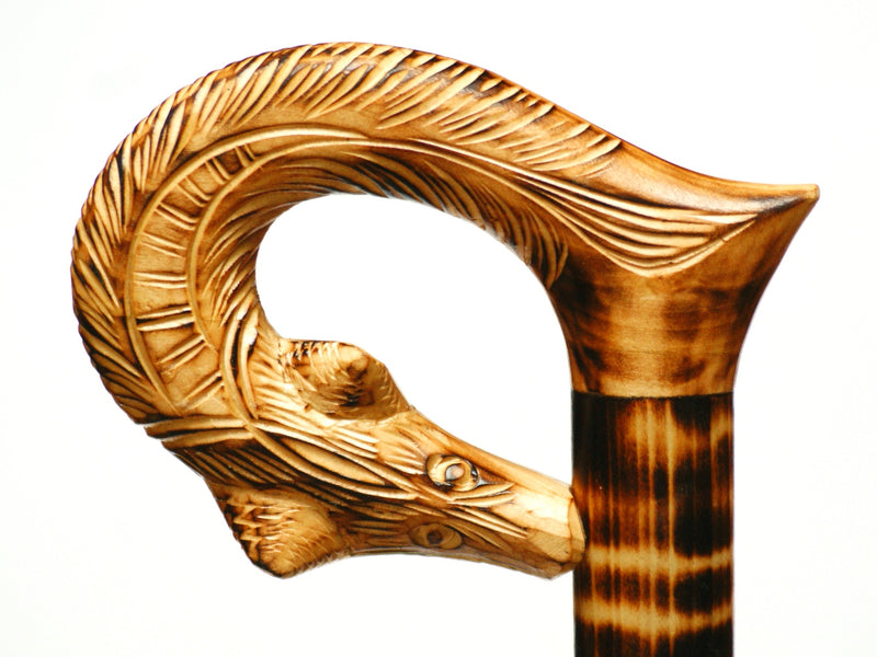 Golden Brown Wolf Wooden Cane