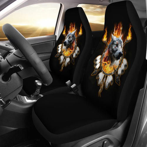 Fire Wolf Chief Car Seat Cover Black