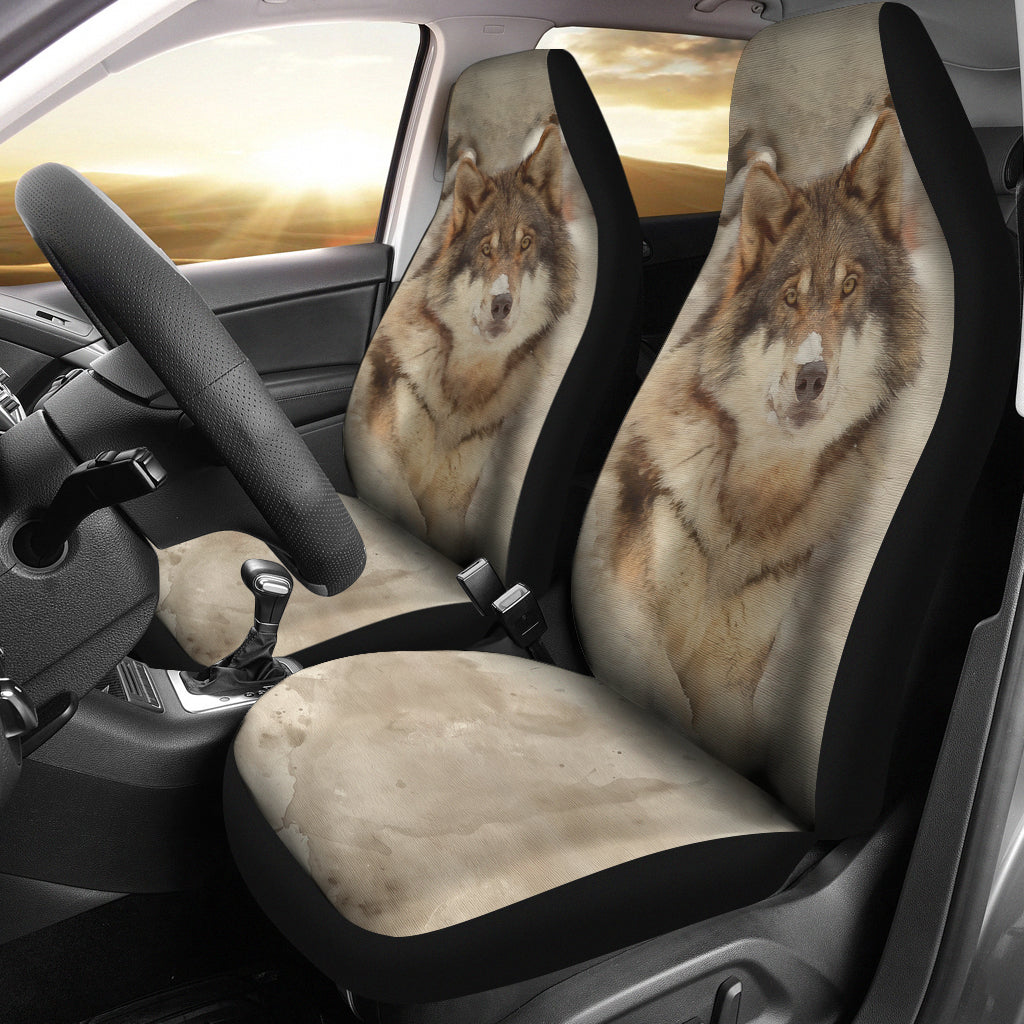 Wolf in Snow CAR SEAT COVERS