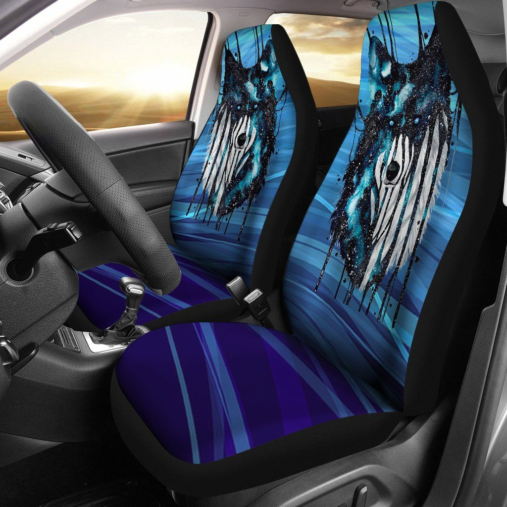 Dripping Galaxy Wolf Car Seat Cover