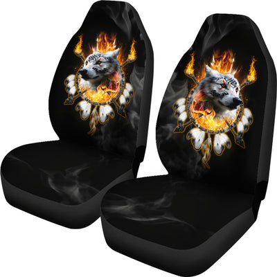 Fire Wolf Chief Car Seat Cover Flame
