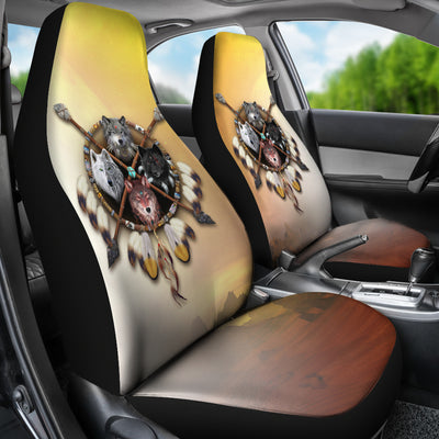 4 Wolves Warrior Car Seat Cover Light