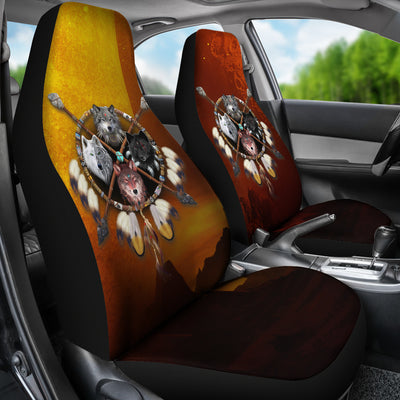 4 Wolves Warrior Car Seat Cover Dark