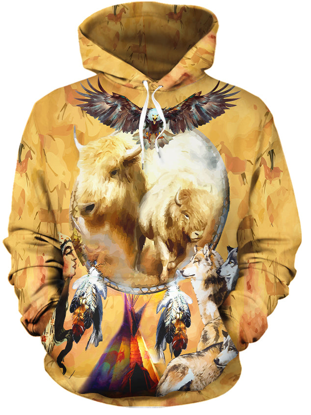 Totem Buffalo All Over Print Hoodie