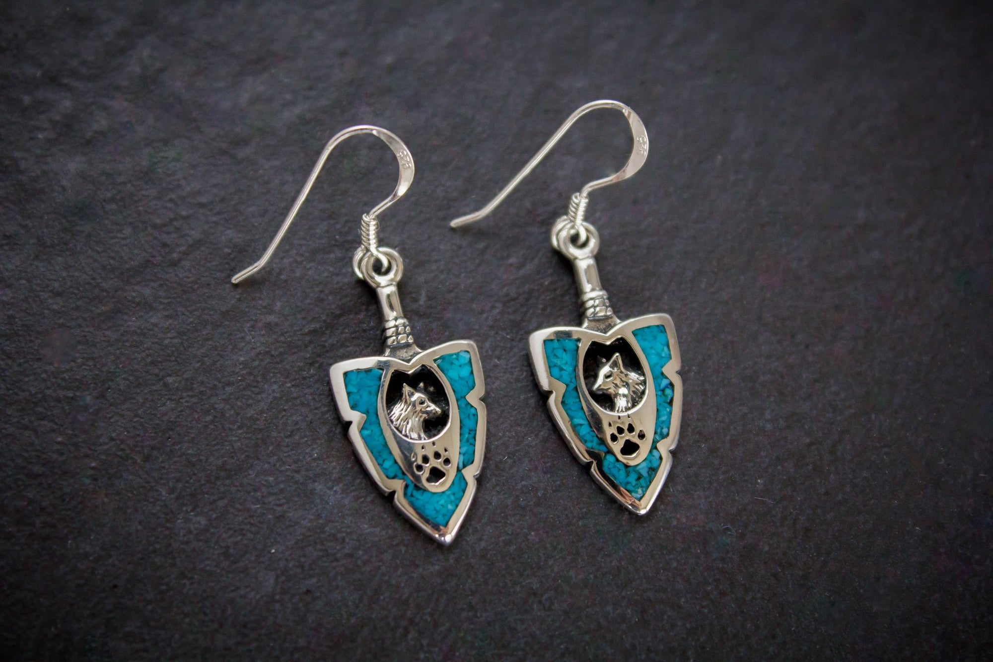 """Turquoise Wolf"" Earing"