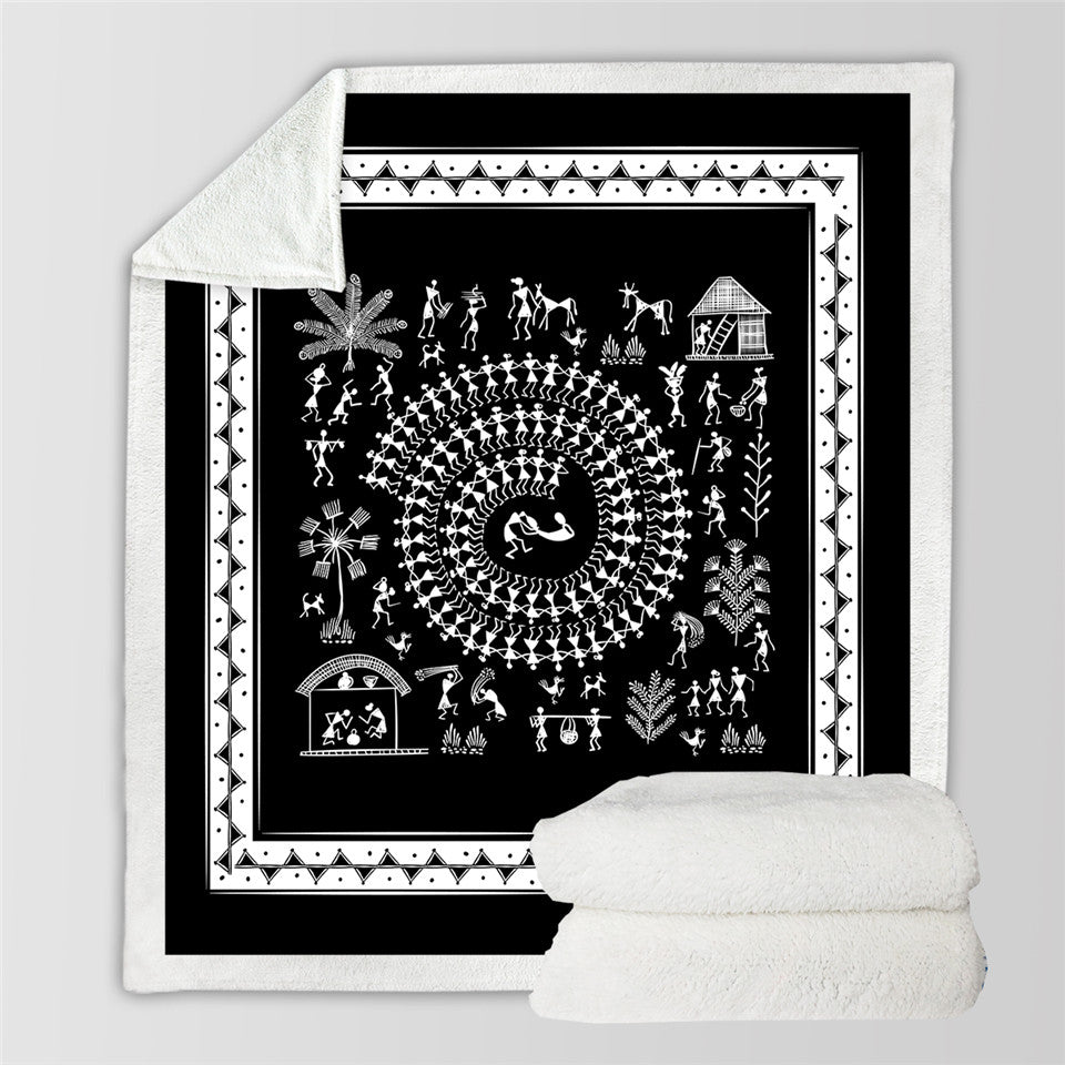 Tribal Daily Life Sherpa Fleece Blanket
