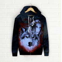 Load image into Gallery viewer, My Wolf My Spirit Zip Up Hoodie