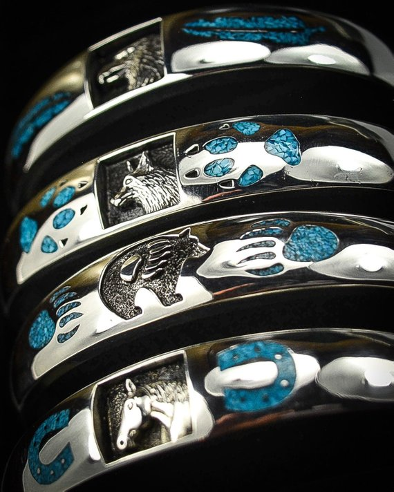 Bear, Wolf, Eagle, and Horse Cuff Bracelets
