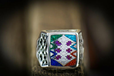 6 Stones Tribal Ring in 925 Sterling Silver