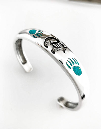Bear and Paw Cuff Bracelet