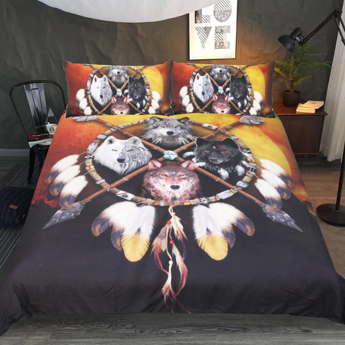 4 Wolves Warrior Bedding Set