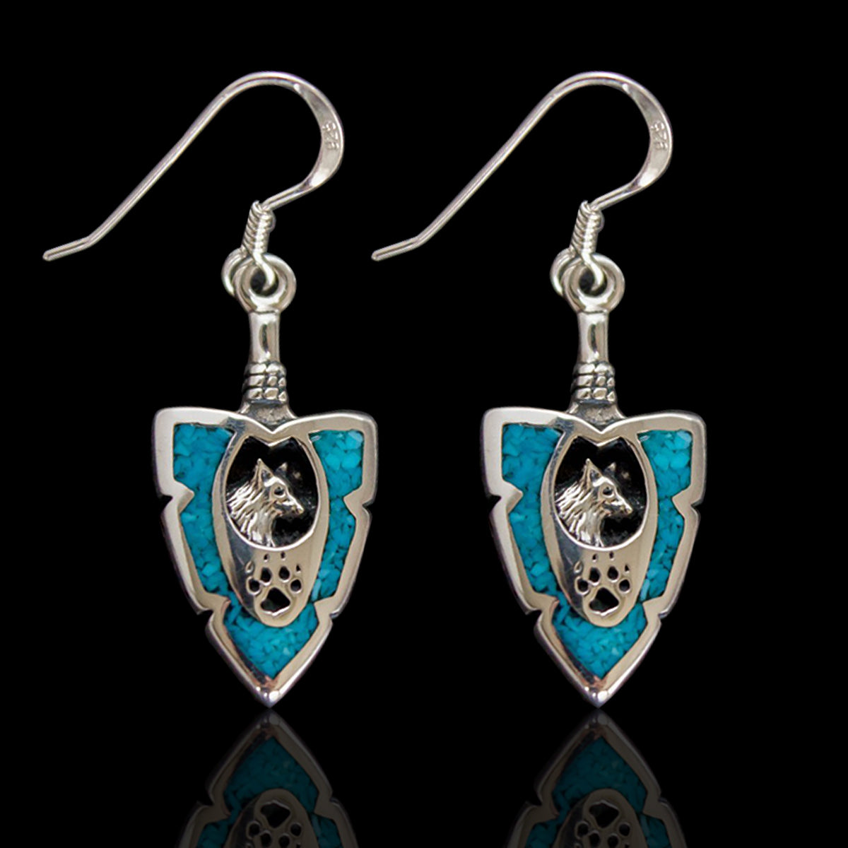 Arrow-Shaped Wolf Earring in Sterling Silver and Turquoise