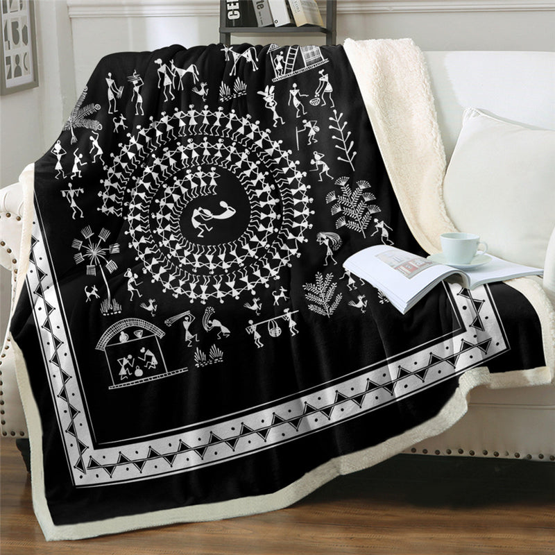 Traditional Bed Blanket Ancient Tribal Art Throw Blanket India Rural Life Bedding Black White Blanket cubre cama
