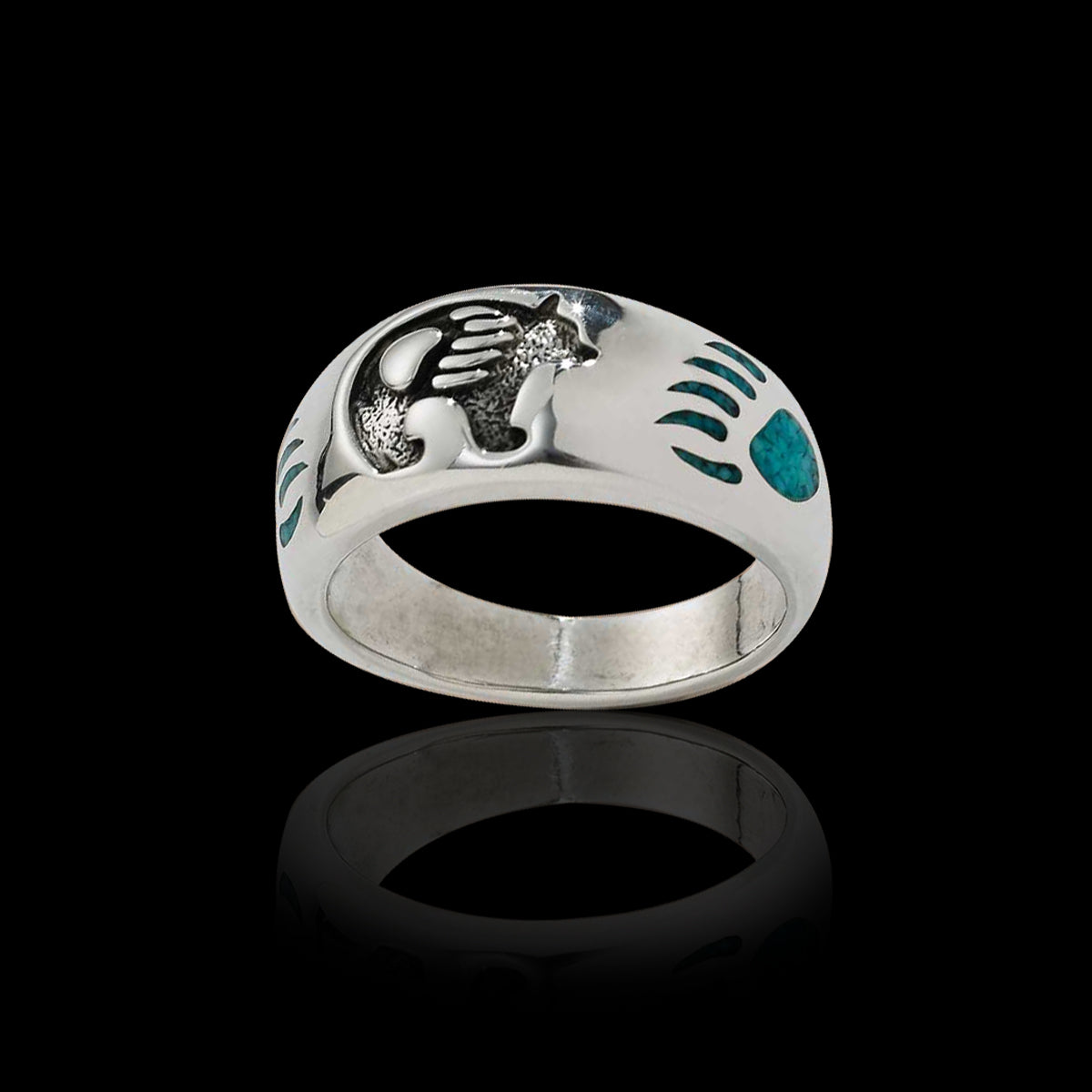 Bear Symbol Ring is hand-crafted in 925 Sterling Silver ring with a Grizzly Bear center with single bear paws, in crushed Kingman Turquoise chip inlay, either side of the Bear