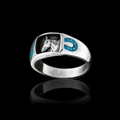 Horse and Horseshoes Sterling Silver Ring