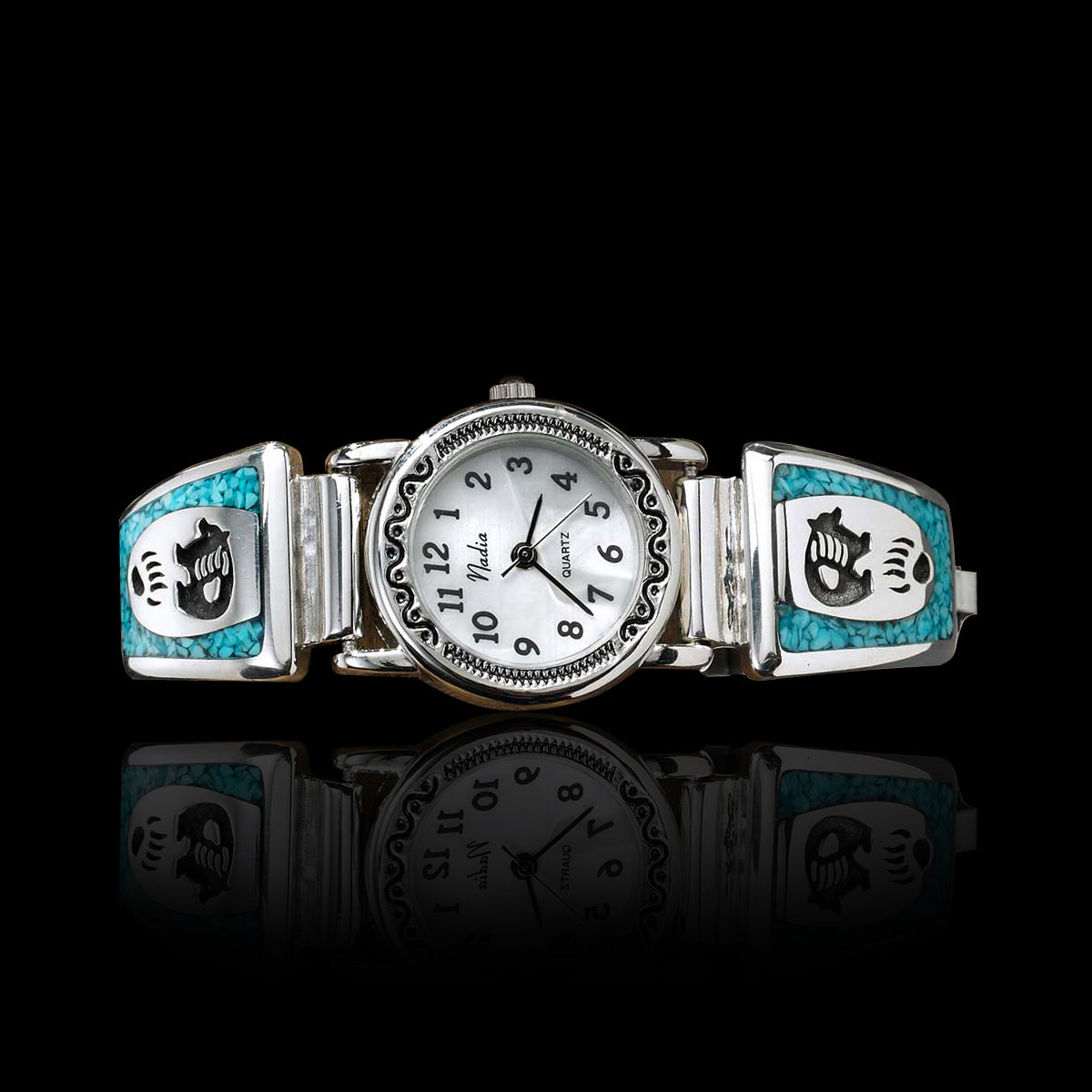 """Bear and Paw"" Watch with Turquoise"