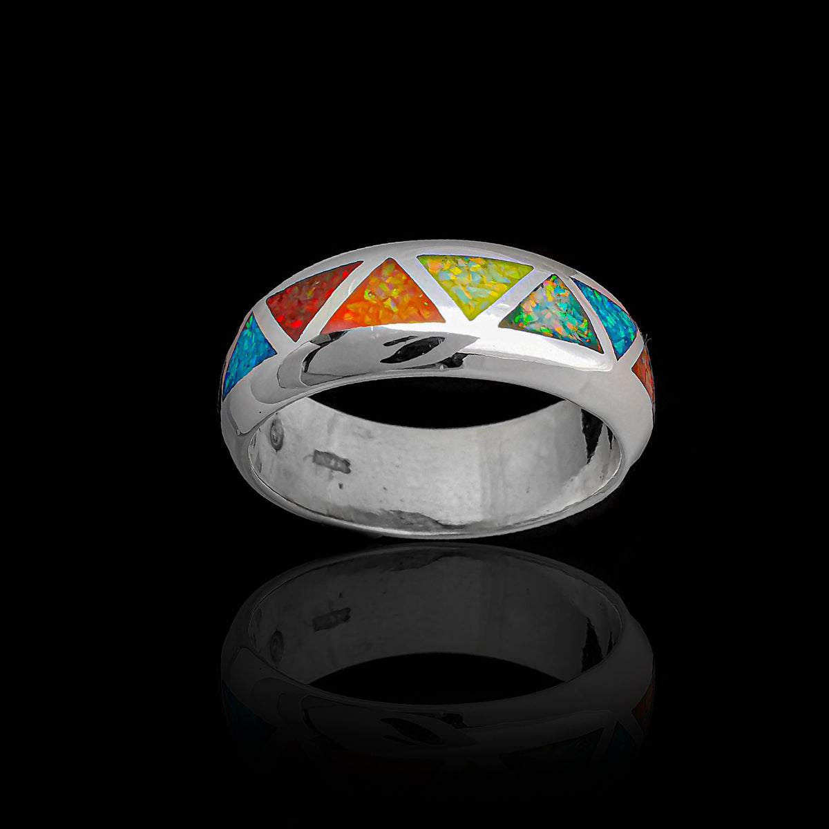 Rounded Band Rainbow Triangles Pride Ring 925 Sterling Silver