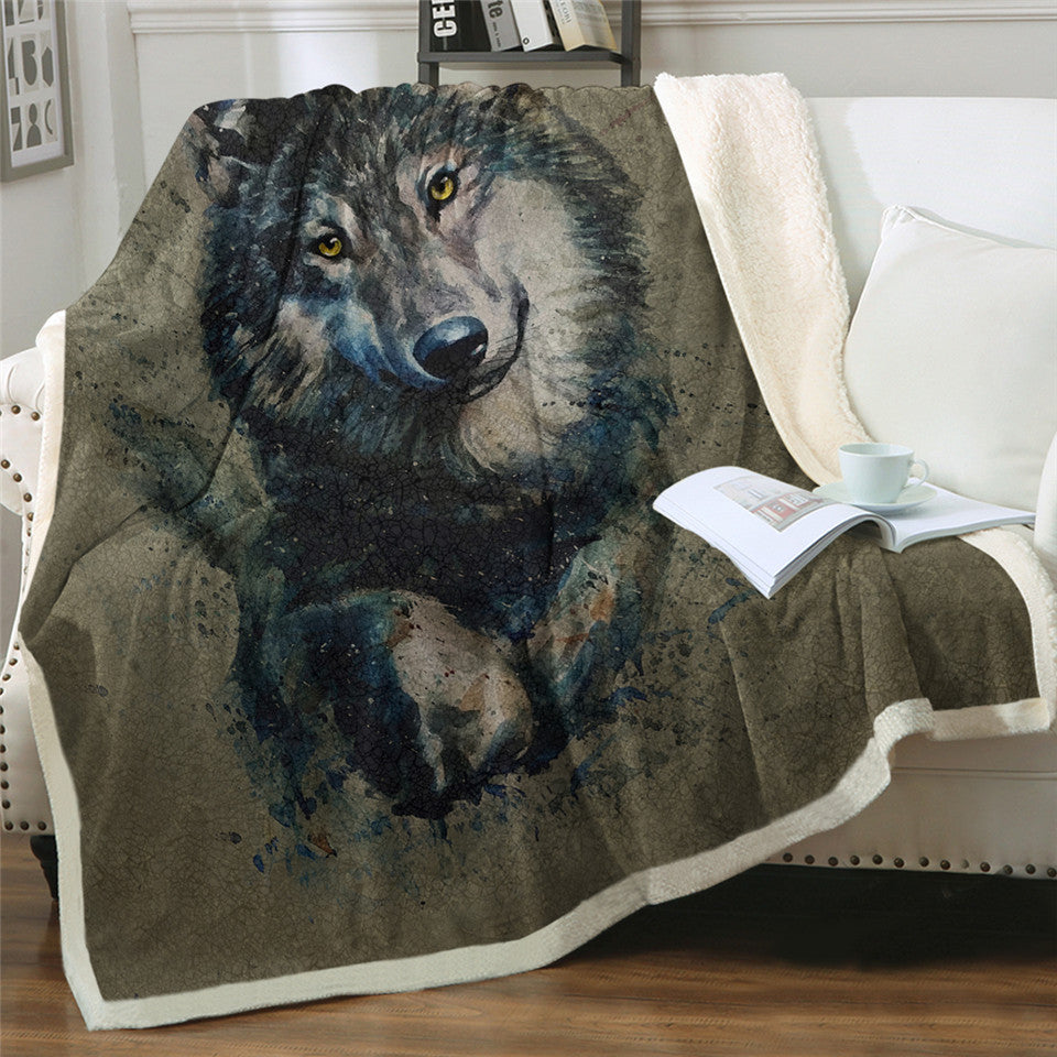 Your Guardian Wolf  Sherpa Blanket