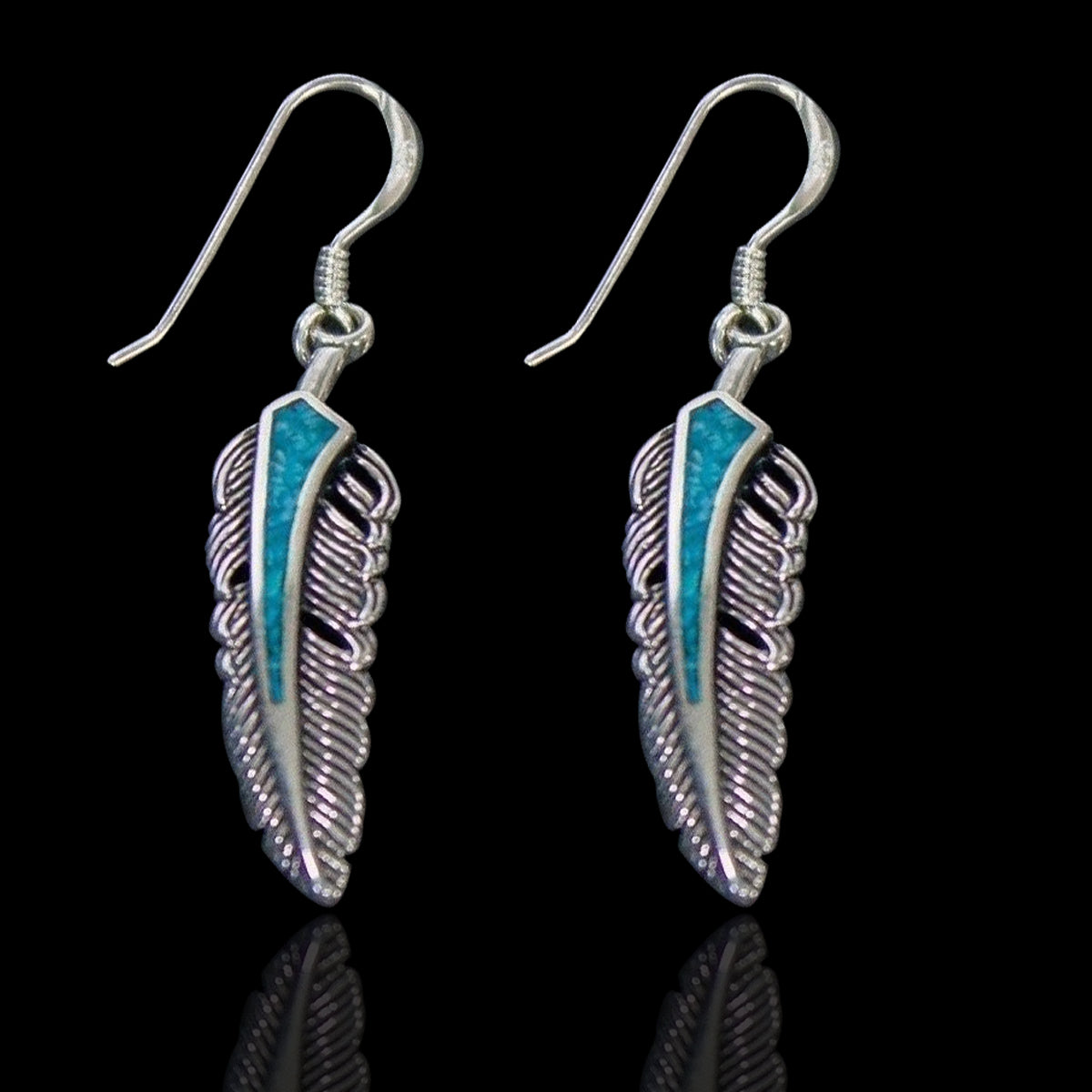 Kingman Turquoise Feather  Earring