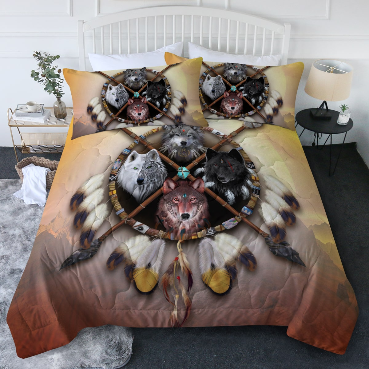 4 Wolves Warrior Light Comforter Bedding Set