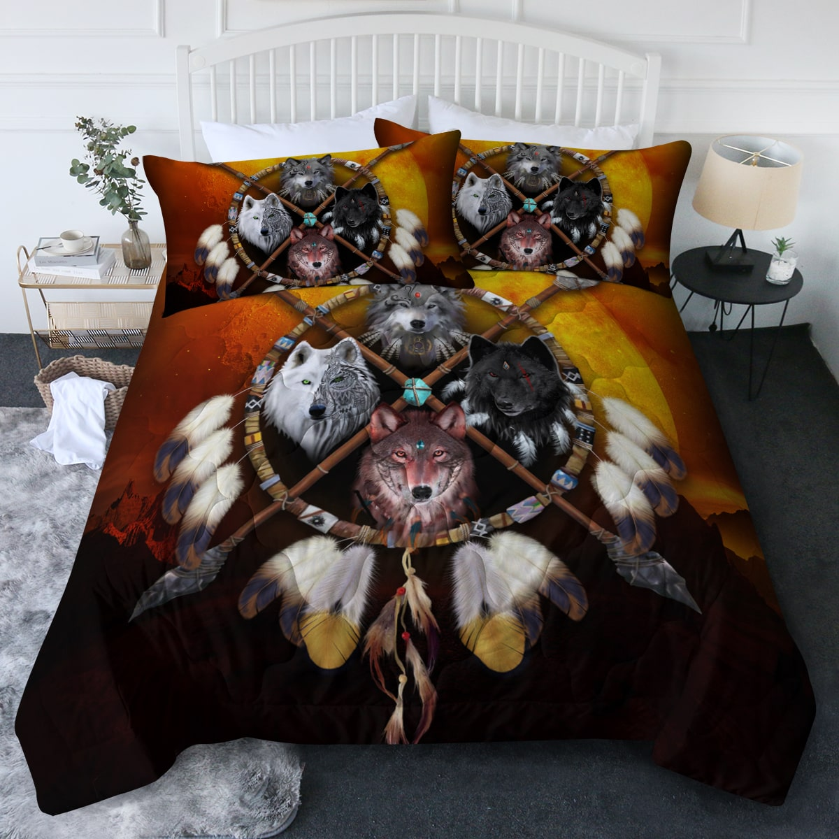 4 Wolves Warrior Dark Comforter Bedding Set