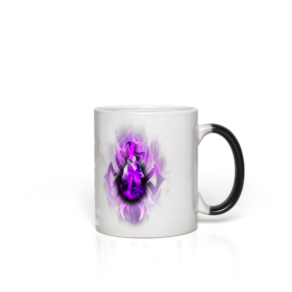 Purple Fire Wolf Magic Mugs
