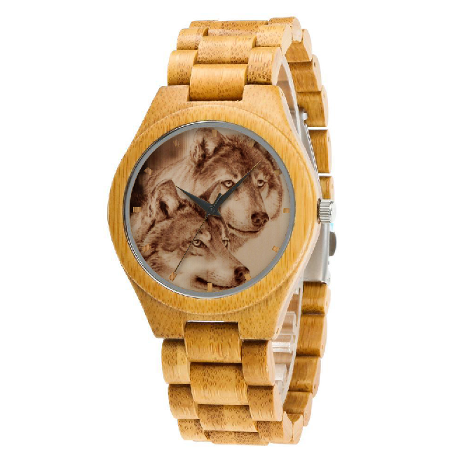 The Wolf couple wooden watch