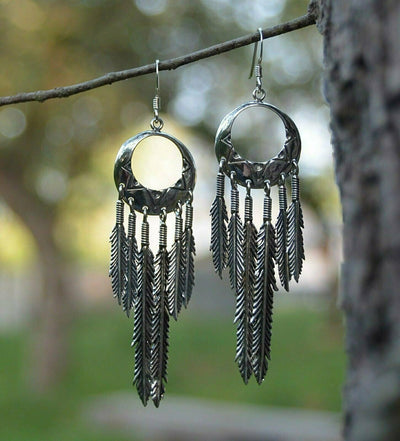 Six Feather Dreamcatcher Dangle Earrings