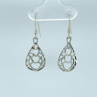 3 Hearts Dangle and Drop Earrings