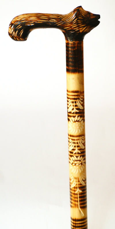 Bright Wolf Wooden Cane