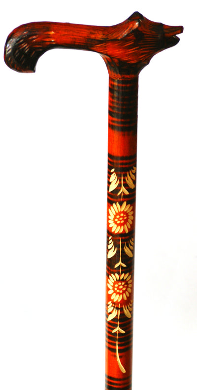 Red Wolf Wooden Cane