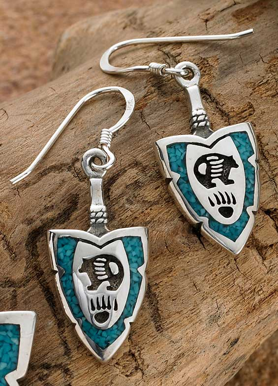 Bear Symbol Drop Earrings - 925 Sterling Silver